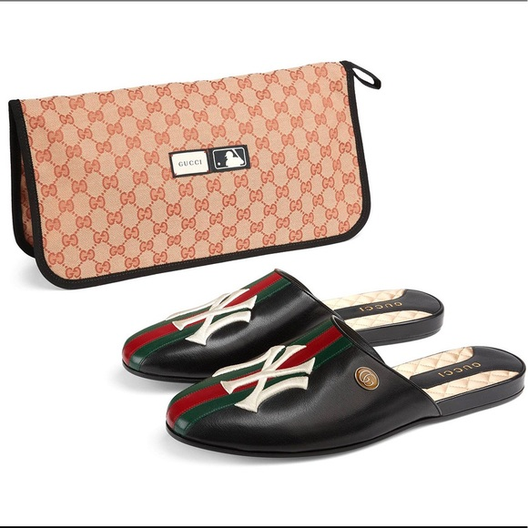 Gucci Shoes - Gucci Leather Mule Slides NY Yankees NWT 8.5US